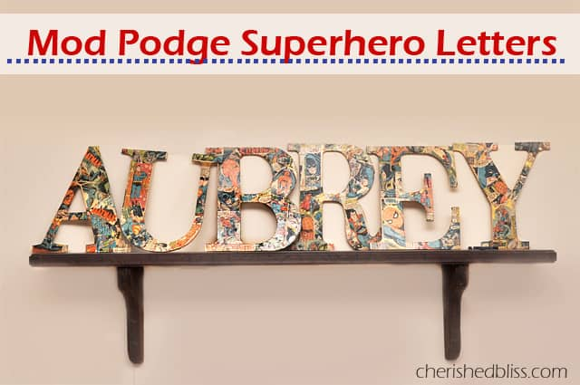 Wooden comic book covered letters