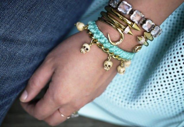 Woven chain charm bracelet