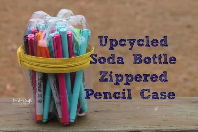 Zippered pop bottle pencil case