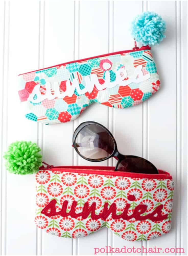 Zipping %22sunnies%22 case with pom pom