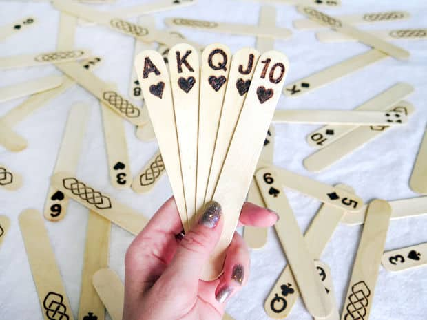 etched popsicle stick playing cards