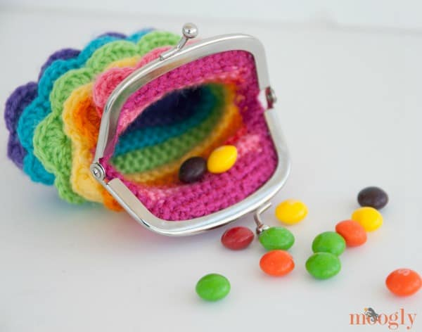 rainbow ruffles purse
