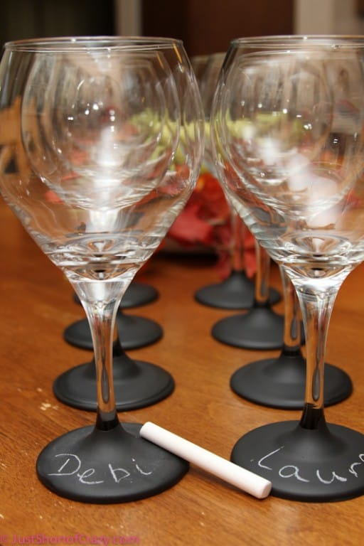 Chalkboard base wine glasses