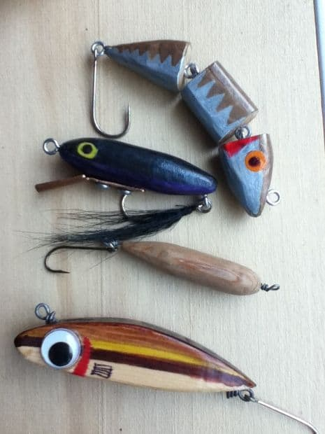 DIY cedar fishing lure with joints