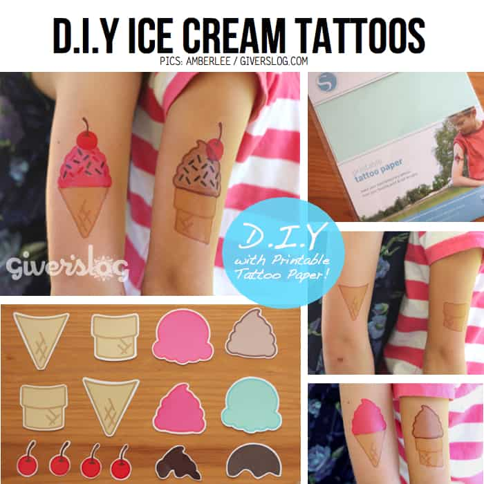 DIY ice cream transfer tattoos