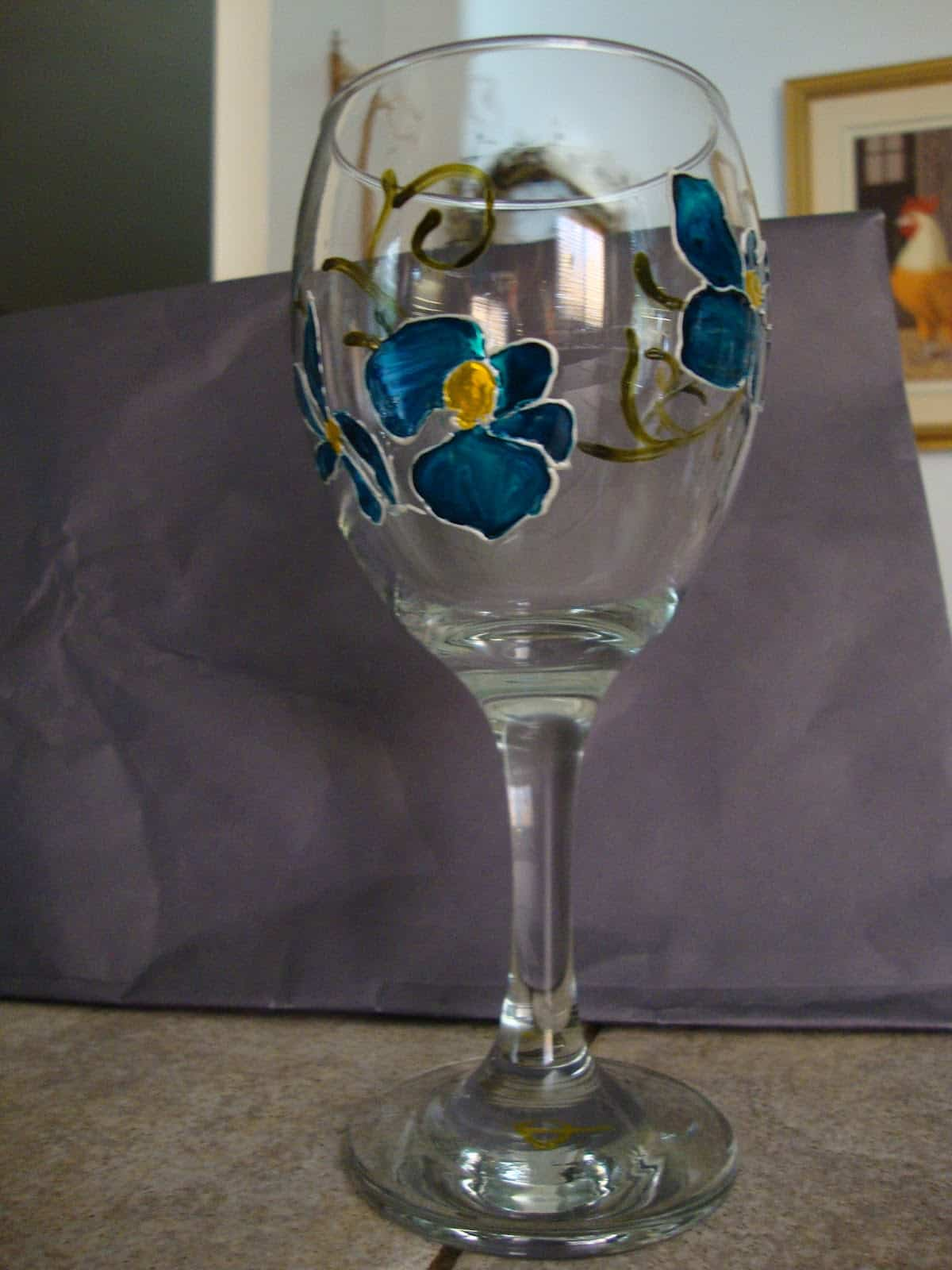 DIY orchid painted glass