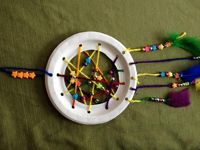 DIY paper plate dream catcher