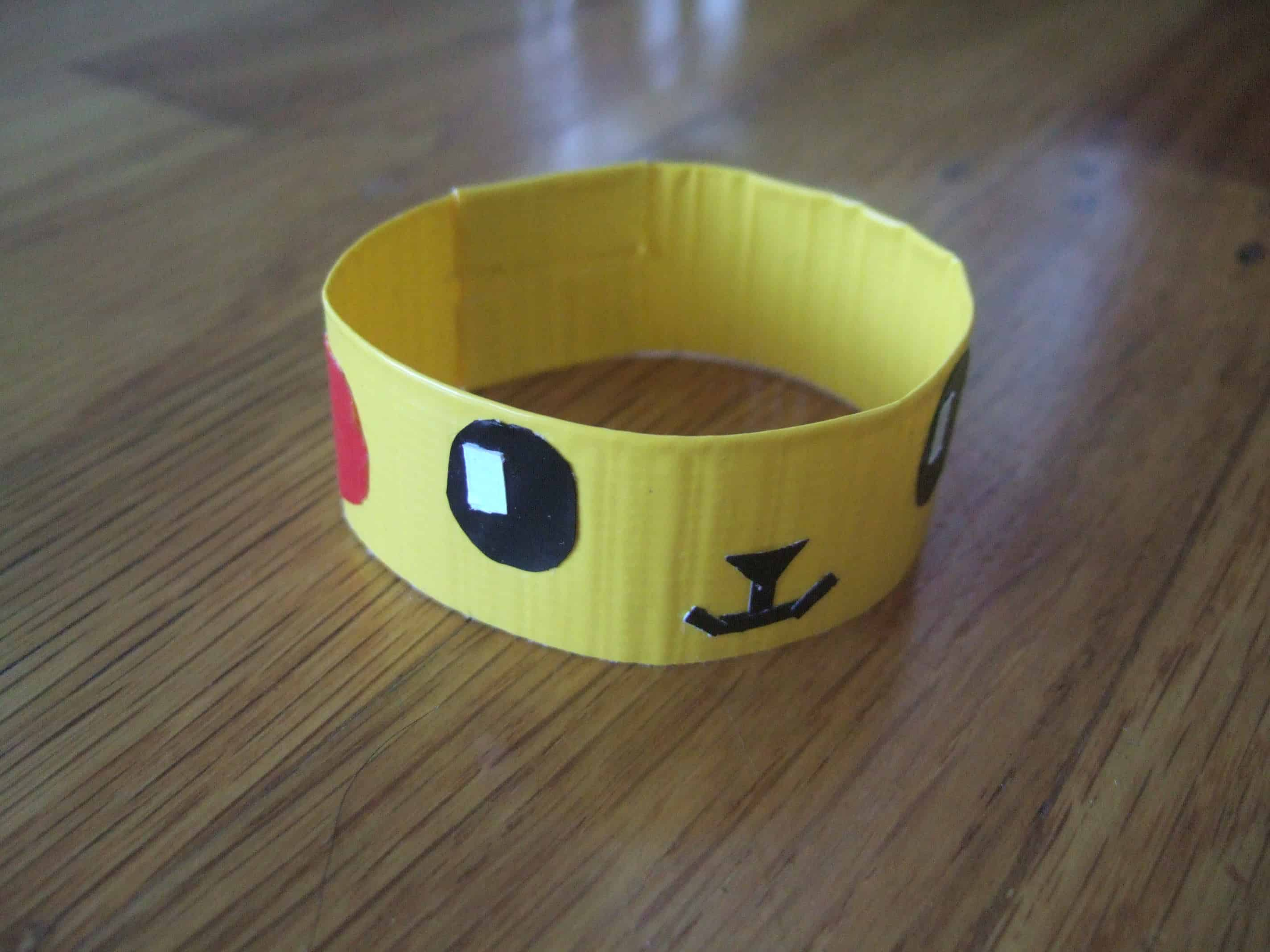 Duct tape Pikachu bangle