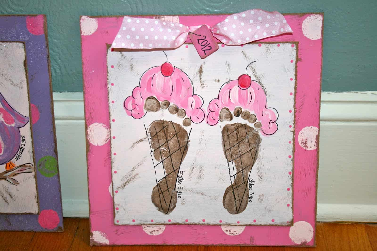 Footprint ice cream cone wall art