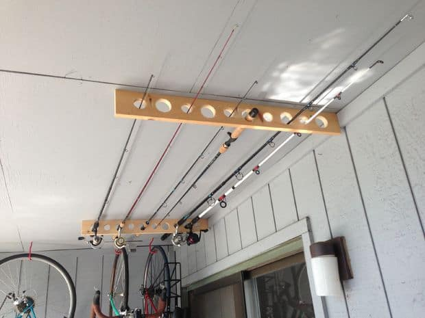 Garage ceiling fishing rod storage