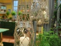 Mason jar and knotted rope hanging lanterns 200x150 Versatile and Inventive: 15 DIY Projects That Involve Rope