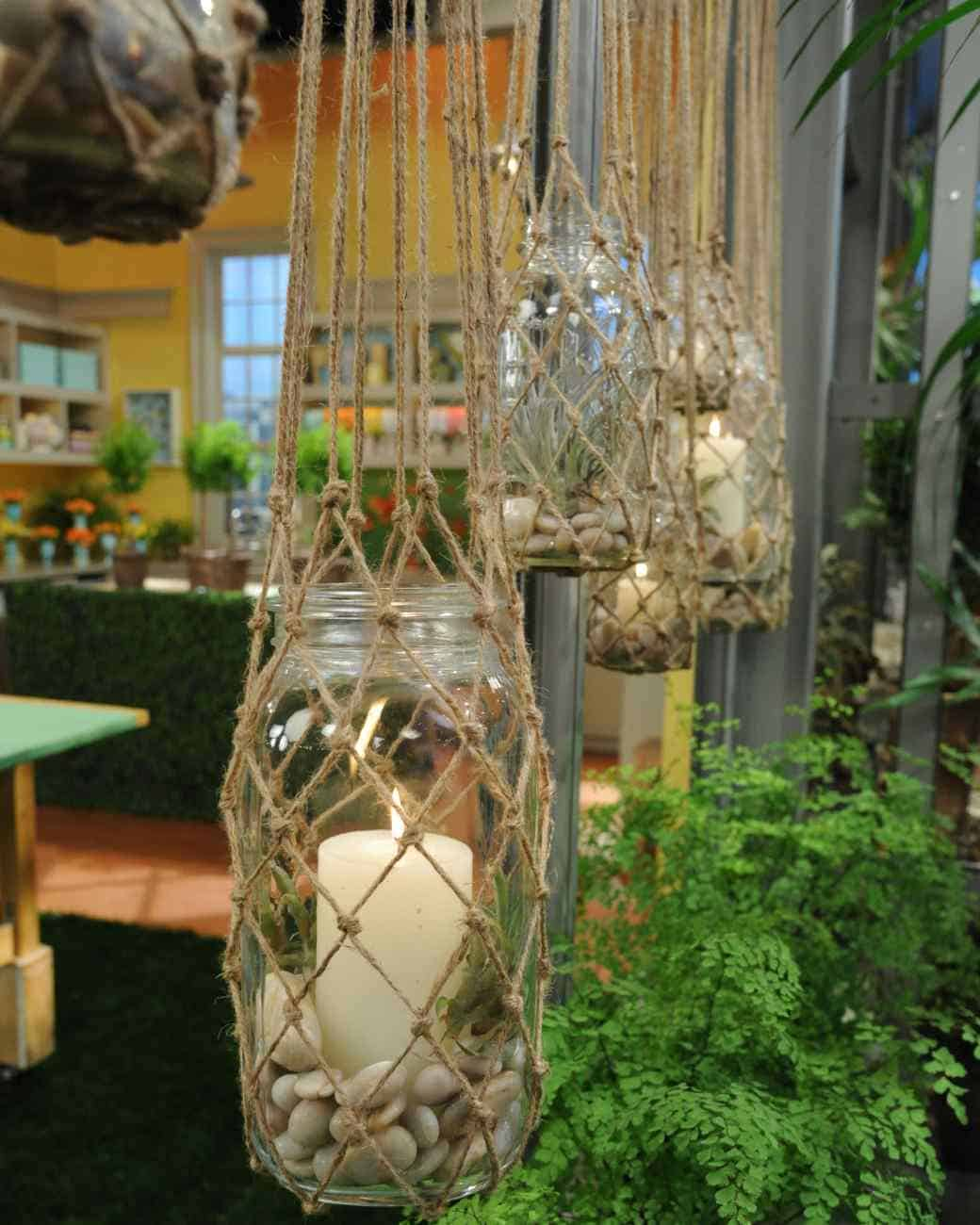 Mason jar and knotted rope hanging lanterns