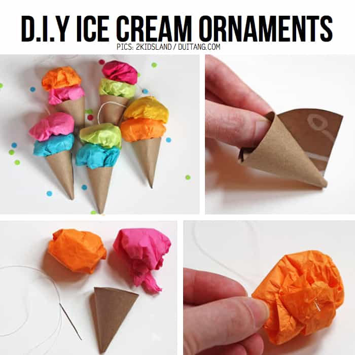Mini DIY ice cream cone ornaments