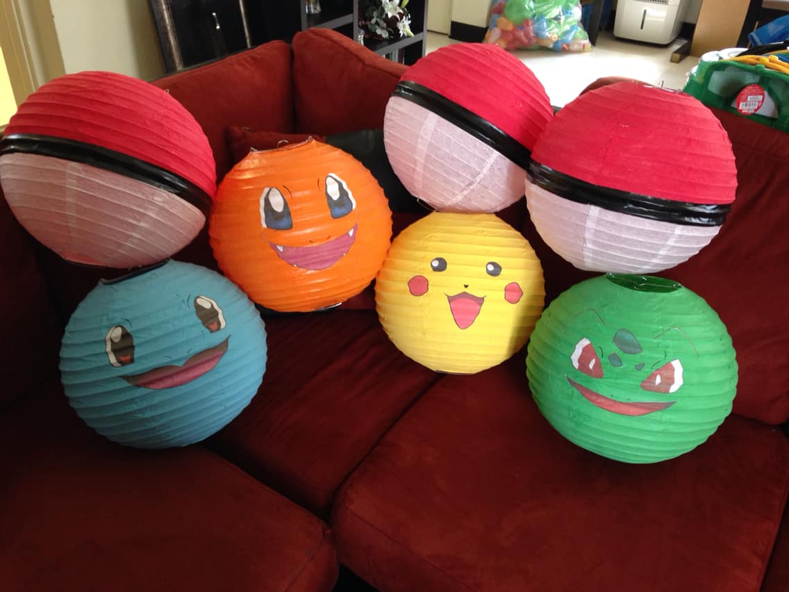 Painted Pokemon lanterns