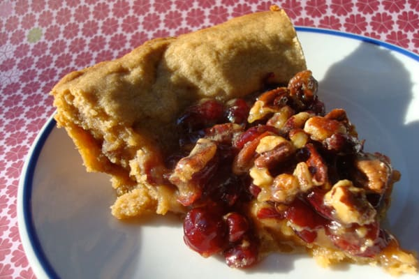 Pecan cranberry pie in a maple peanut butter crust