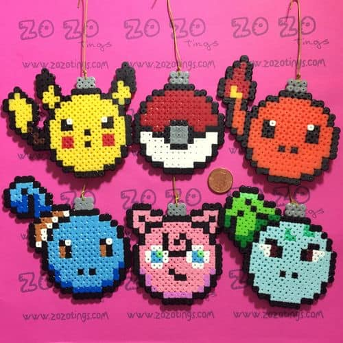 Pokemon perler bead ornaments