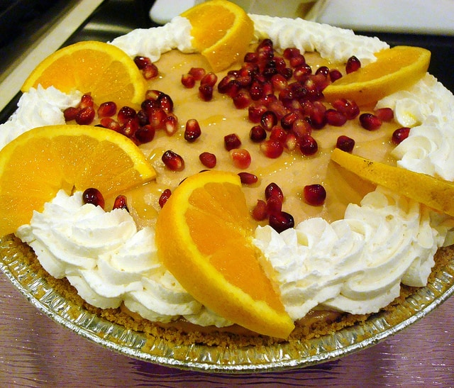 Pomegranate mousse pie