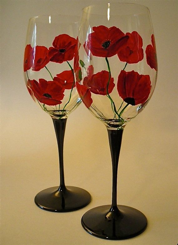 15 painted wine glass designs Images of painted wine glasses