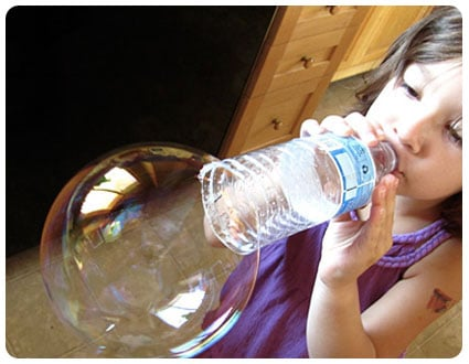 Repurposed water bottle bubble blower