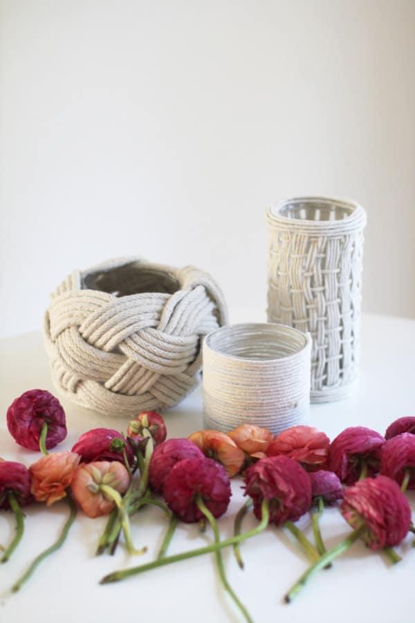 Rope flower vases