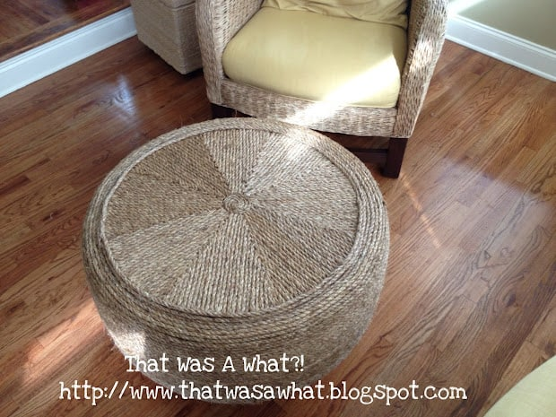Rope wrapped ottoman