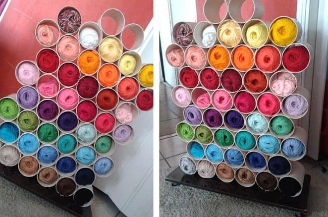 Stacked PVC pipes yarn storage