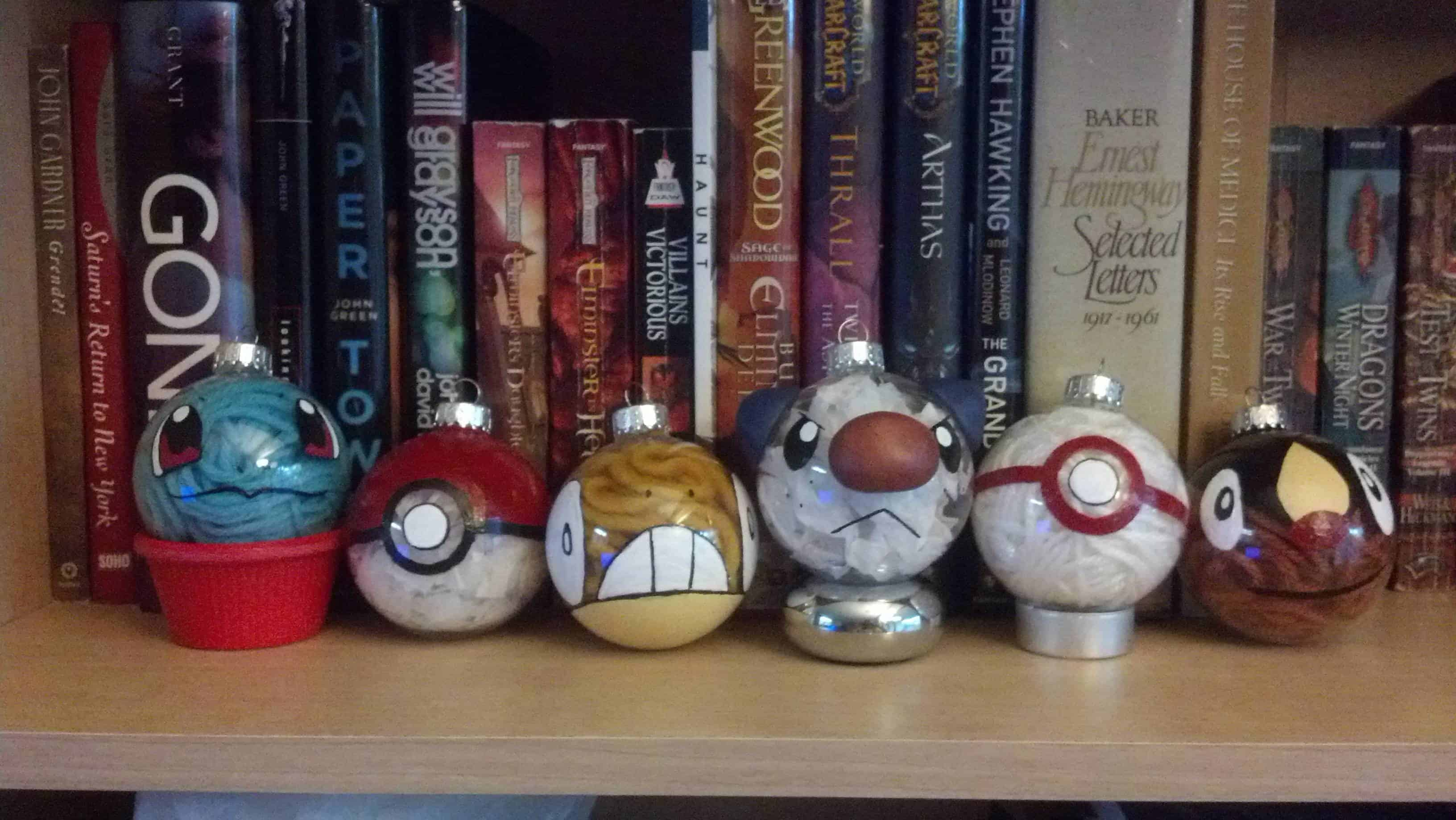 Yarn-filled Pokemon Christmas bobbles