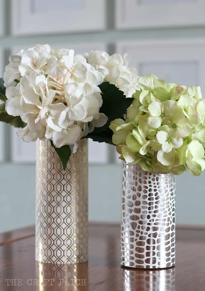 metallic vase