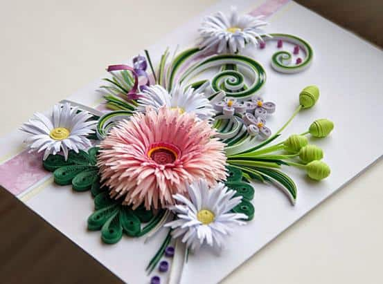 3D quilled floral card
