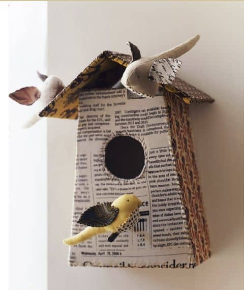 Book page bird house