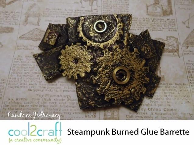 Burned glue steampunk barrette