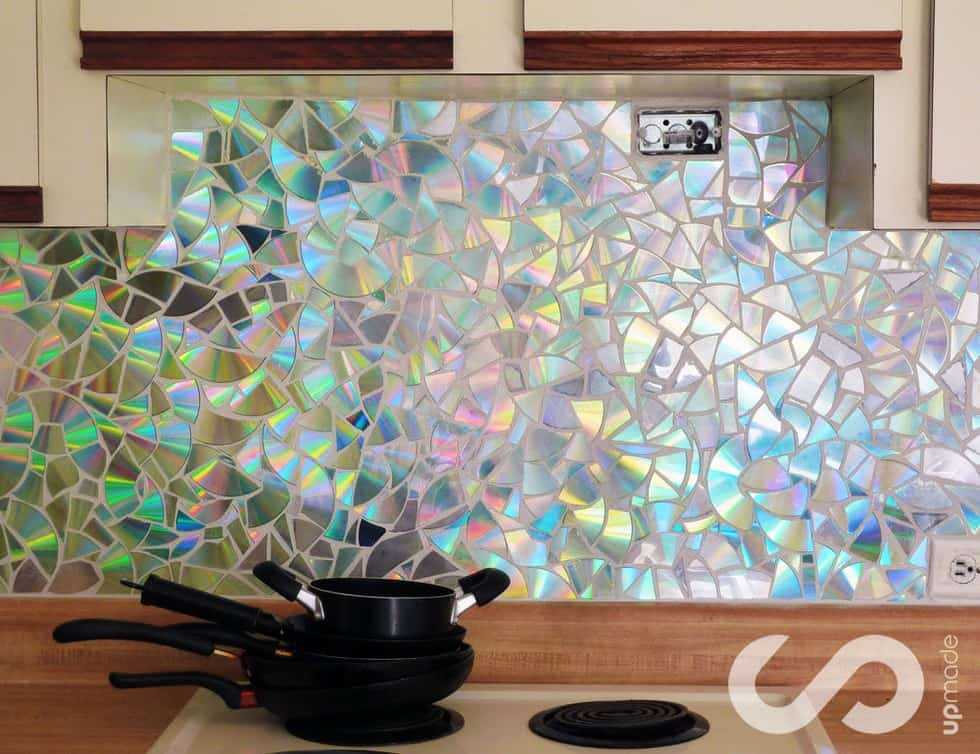 CD mosaic backsplash