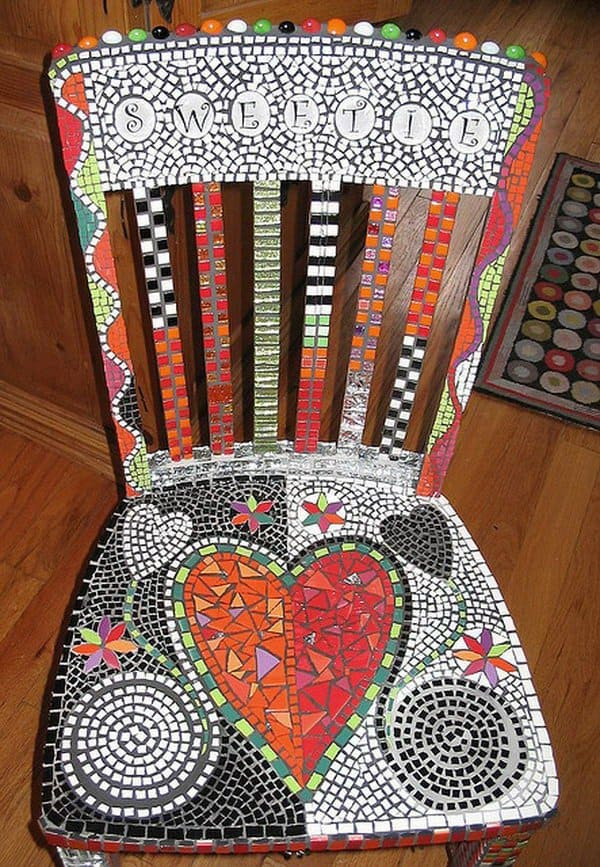 Ceramic tile mosaic chair