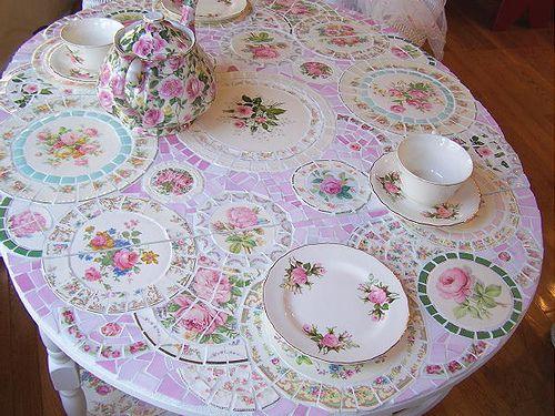 China plate mosaic table