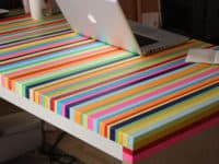 Coloured tape striped tabletop 200x150 Shockingly Creative Tabletops That are Sure to Impress