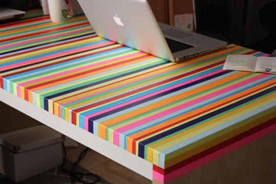 Coloured tape striped tabletop