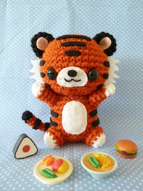 crocheted-tiger-doll