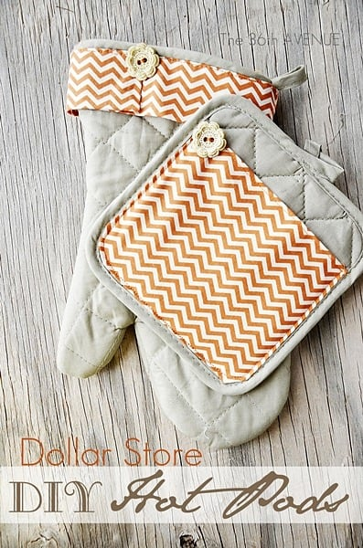 Cuff and button dollar store hot pads