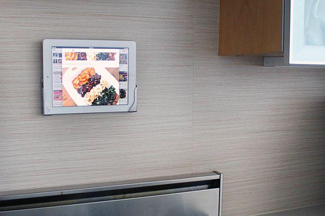 DIY Velcro iPad kitchen station