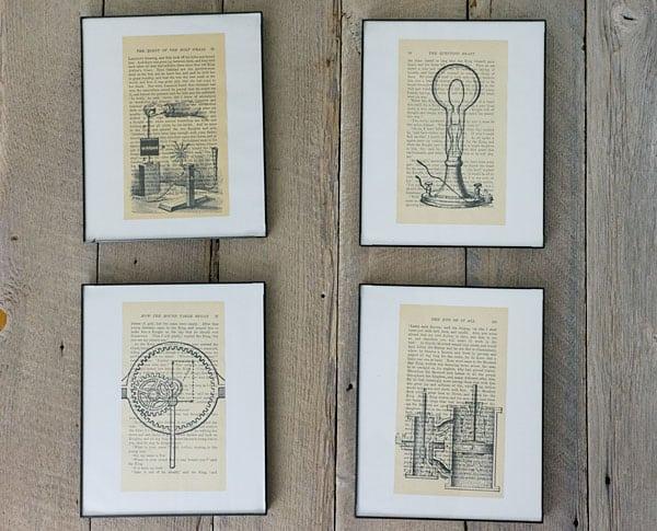 DIY ink printed book page art