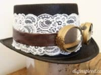 DIY lace steampunk tophat with goggles 200x150 Fiction Meets Fashion: Stylish Steampunk Inspired Projects