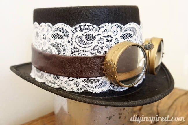 DIY lace steampunk tophat with goggles