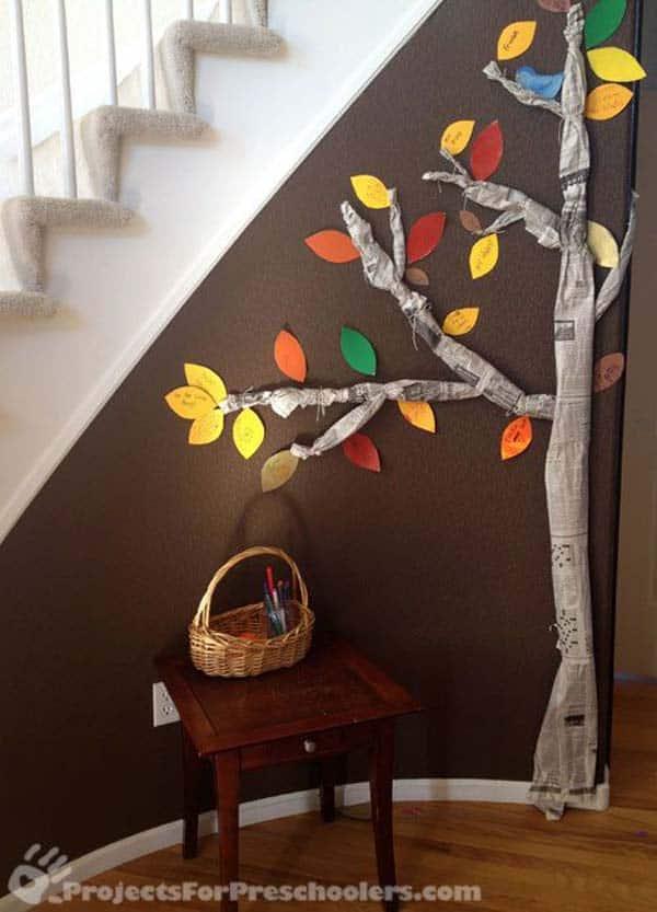 Fall newspaper tree