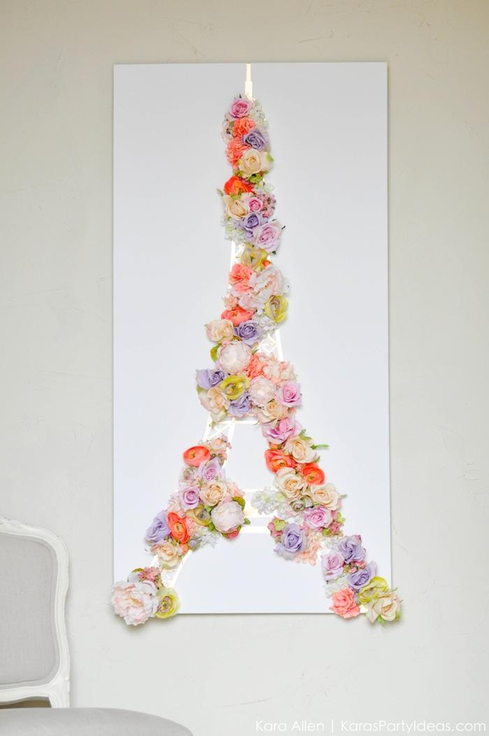 faux-flower-eiffel-tower-wall-decor