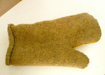 Felted wool oven mitt