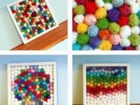 Frame yarn scrap balls 200x150 Let Out your Spirit: 15 Sassy DIY Art And Decor Ideas