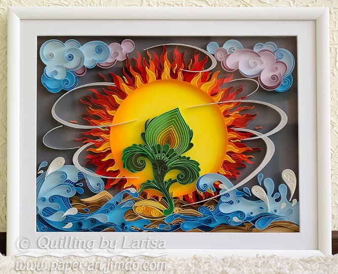 Framed quilled art