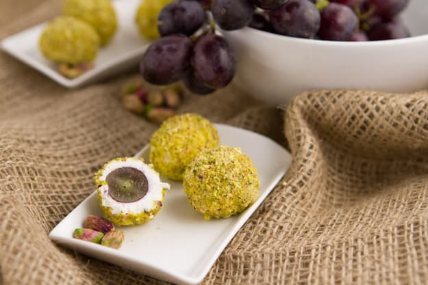 Goat cheese and pistachio covered grapes