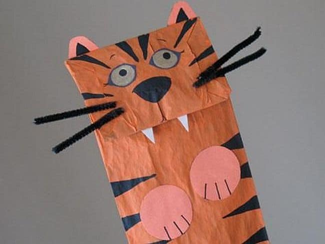 Homemade paper bag tiger puppet