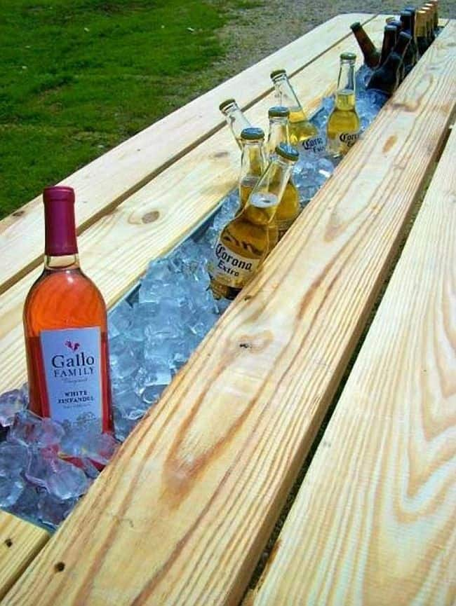 Homemade picnic table cooler trench
